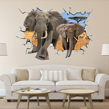 New 8006-y elephant 3D wall FX stereo wall stickers removable fashion background Scrubs the living room wall stickers(China)