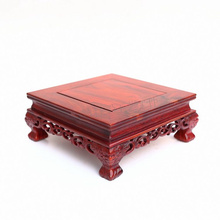 Red wingceltis square base solid wood real wood household act the role ofing is tasted of Buddha vase flowerpot crafts(China)