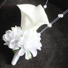 White calla lily flower pearls Corsage Groom groomsman Wedding party Man suit men Boutonniere Prom pin brooch Hot Lapel Flower