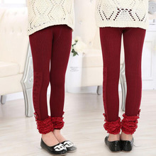 3-12 Years Flower Princess Girls Knitting Leggings Stripe Lace Girl Pants Children's Bottom PantsWinter Autumn(China)