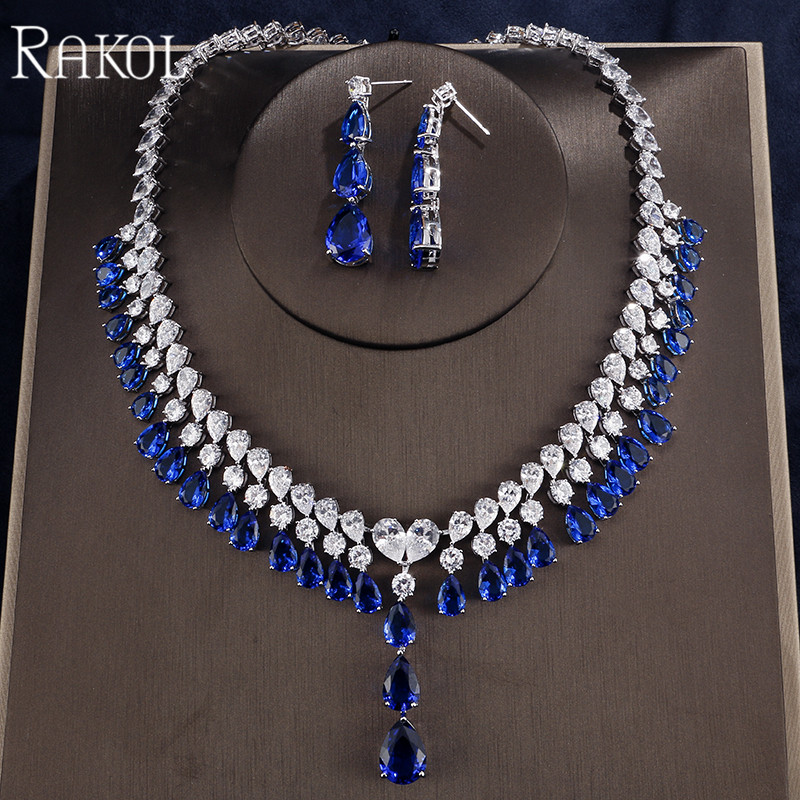 RAKOL Dubai Shining CZ Stone Water Drops Dangles Necklace Earrings For Women White Gold Color Luxury Princess Jewelry Set