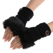 Imitation rabbit fur women fingerless gloves Knitting Wool girl mittens Wrist Winter female gloves button soft Faux Fur Mittens(China)