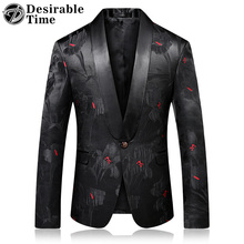 2018 Fashion Mens Printed Blazers Casual Slim Fit Prom Dress Blazer Men Black Floral Stage Wear Blazers Jacket for Men DT313(China)