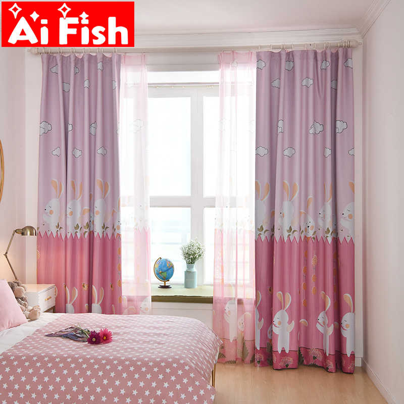 Simple Modern Nordic Plant Personality Curtain Custom Carton Rabbit For Girls boys Living Room Window Curtains Drapes AP116-40