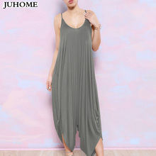 Summer Harem Romper Long Pants Jumpsuit Coveralls Women's Playsuit Spaghetti Strap Deep V-Neck Plus Size clubwear sexy clothes(China)