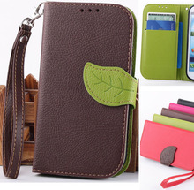 Natural green Leave shape magnetic Phone Card Holder Money Clip Wallet Case For Samsung Galaxy S3 I9300 Pigeon Phone Case Cover(China)