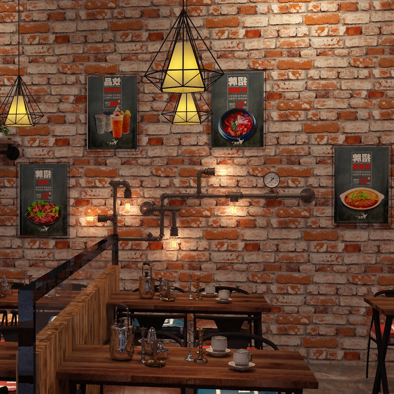 Chinese-style 3d retro antique culture red grey vintage brick wall coating TV bakcdrop wallpaper restaurant wall roll clothing<br>