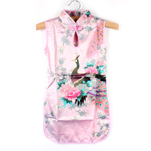 2016 Child Girls Baby Chinese style  Peacock Cheongsam Dress Qipao clothes  2-8Y