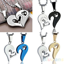 Mens Womens Lovers Stainless Steel Love Heart Jigsaw Pendant Necklace Gift 1HKB(China)