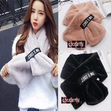 Winter Warm Soft Plush Faux Fur Fashion Korean Appeal Letter Magic Band Ring Scarves,scarf luxury echarpe pashmina cachecol