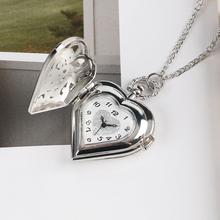 Silver Pocket Watch Hollow Heart-shaped Pocket Quartz Watch Necklace Pendant Women Gift P72 Relogio De Bolso Birthday Gift