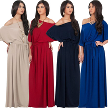 Fashion Women Half Lantern Sleeve Maxi Dress Slash Neck Solid Color Long Dress Engagement Evening Party Floor Length Dress