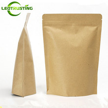 Leotrusting 100pcs Kraft Paper Ziplock Bag Stand up Mylar Foil Packaging Bag High Barrier Kraft Paper Zipper Coffee Bag Gift Bag(China)