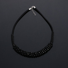 New arrival leather choker jewelry leather necklace Crystal glass accessories chocker necklace for women