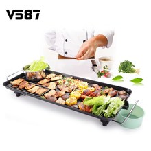 Electric Grill Table BBQ Fish Household Iron Disc Smokeless Barbecue Stove Nonstick Oven Hotplate Roast Meat Equipment For Party