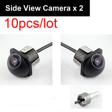 10pcs Pair Auto 20mm Hole Drilling Side View Camera Side Mirror Mount Reverse Mirrored Image No Parking Stereo RCA -Pack of 2(China)