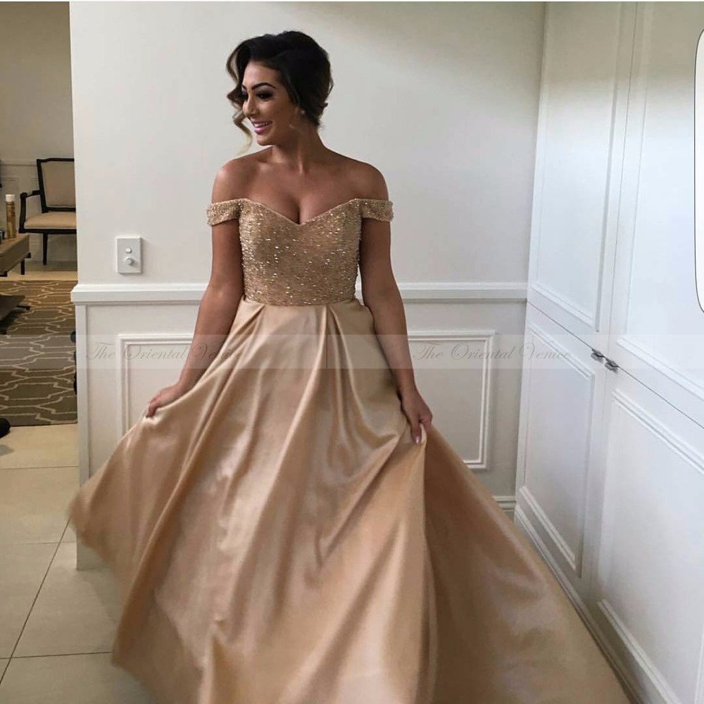High quality champagne bridesmaid dress with sequins promotion arabic champagne gold beaded crystal bridesmaid dresses 2017 off shoulder long wedding party dress junior maid of honor gowns ombrellifo Gallery