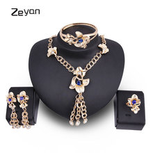 Zeyan 4pcs Jewelry Set Women Necklace Bracelet Rings Earrings Set Lady Party Gift Rhinestone Jewelery Bridal Wedding Accessories(China)