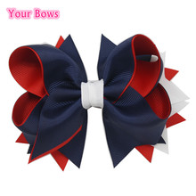 1PC 5Inches Kids Girls Hair Bows 4th Of July Boutique Bows For Girl Navy Red White Kids Bows Hair Pins Kids Hair Accessories(China)