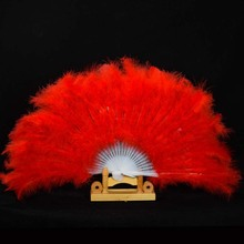 2017 Handmade Chinese Japanese Folding Fan Marabou Feather Hand Fan Dance Stage Performance Props Wedding Party Favors L size