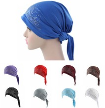 women Rhinestone Scarf Head Wrap Cap spandex du rag(China)