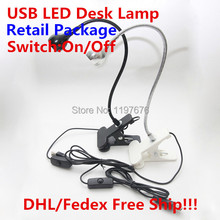 2015 hot sale 3W clip desk lamp Flexible LED table lamp USB Light LED desk table lighting for Laptop PC Computer retail pacakge