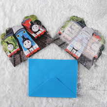 6pcs Cards and 6pcs Envelopes thomas Train Design Invitation Card for kids Birthday Party Supplies Party