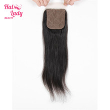 Halo Lady Beauty Silk Base Closure 4x4 inch Middle / Three / Free Part Silk Lace Closure Brazilian Straight Human Hair Non Remy(China)