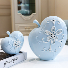 High quality Artificial creative fruit figurines & Miniatures blue apple ceramic Crafts birthday gift For Home wedding Decor(China)