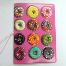 Pink Doughnut Passport Holder PVC Leather 3D Design Passport Cover ID Card Holder 14*9.6CM Passport Holder