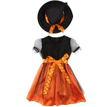 2017 New Baby Dress Halloween Kids Girls Witch Pumpkin Dress + Hat Lace Fancy Dress Children Costume