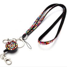 1pcs Multicolor Retractable Rhinestone Crystal Bling Neck Lanyard with Badge Reel For ID Name Badge Holder Key Holder