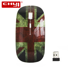 2.4Ghz Wireless Optical Mouse British Flag Style Ultra-thin 1600DPI Mause for PC Laptop Computer Mice Mouse Gamer(China)