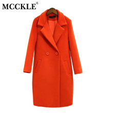 MCCKLE Women's Black Orange Wool Coats Autumn Winter Womens Fashion Brand Design Woolen Coat Jackets Ladies Loose Overcoat