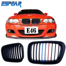 New 1set Intake Kidney Grill Front Grille For BMW E46 3 Series 4D 1998-2001 Matte Black M-color with Retail Package #936