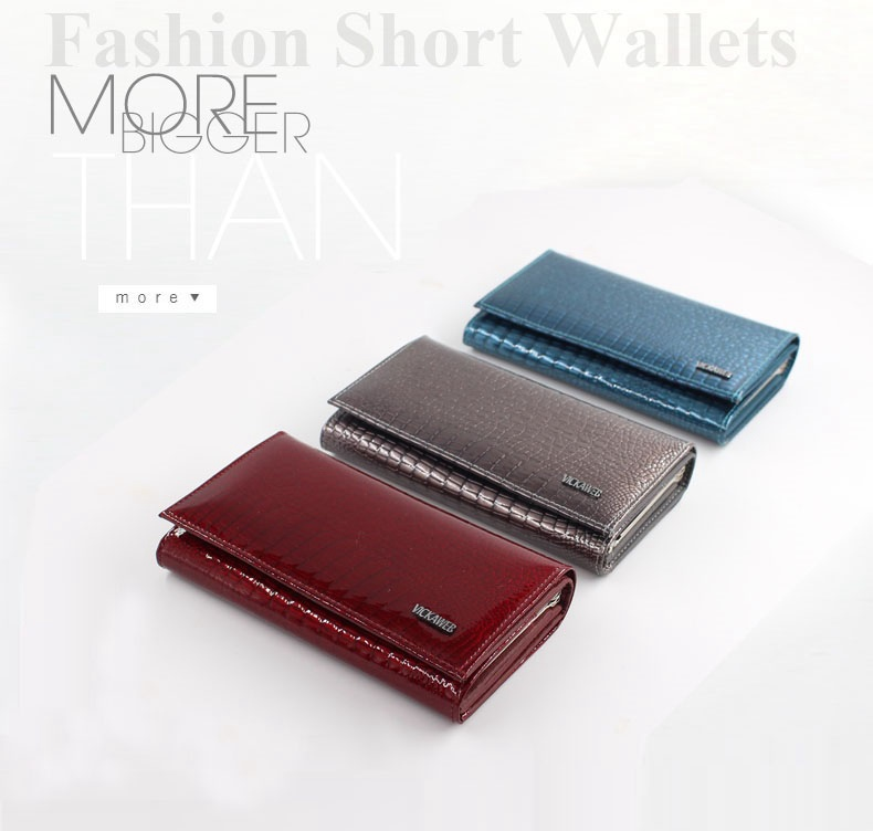 VICKAWEB Genuine Leather Small Wallet Women Wallets Alligator Short Purse Coins Hasp Girls Wallet Fashion Female Ladies Wallets-001