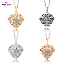 Angel Bola Jewelry 22.5mm Love Lucky Fragrance Cage Essential Oil Pendant Perfume Box Diffuser Necklace for Mom Gifts NL086