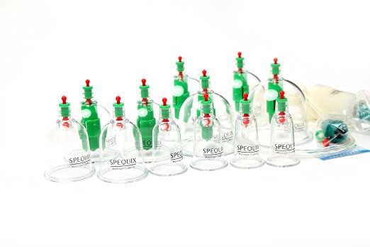 SPEQUIX 12 Cups Traditional Medical Vacuum Cupping Suction Therapy Massages Set Massage Cupping<br>