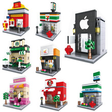 Mini Street Retail Store Building Block Scence Architecture Miniature Model Toy Supermarket Apple KFCE McDonalds HSANHE