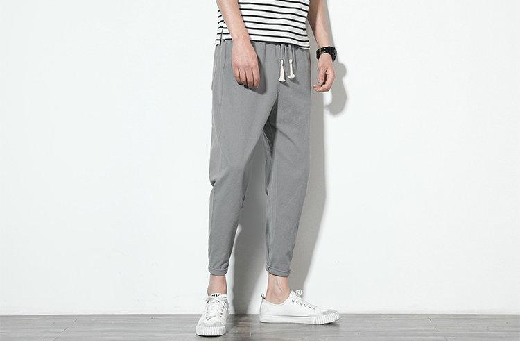 Cotton Linen Joggers Light Grey Men's Harem Pants 3