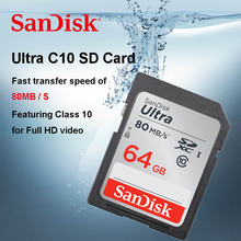 Original SanDisk Ultra SD card 64GB 32GB 16GB Class 10 SD SDHC SDXC Memory Card 128GB C10 80MB/s Support Official Verification(China)
