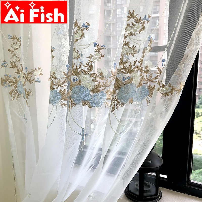 European Luxury Lace Blue Embroidered Curtains Sheer For Living Room Pink Window Screen Kitchen Tulle Curtains Drapes M063#30