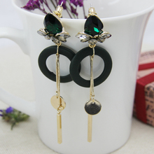 Bohemia Long Tassel Hanging Dangle Drop Earrings for women Green Crystal Statement Ethnic Earring bijouterie Jewelry Gift