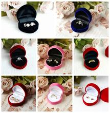 High Quality 100pcs/lot Heart Velvet Jewelry Box RingPackaging Box Ring Holder  Jewelry Gift Cases
