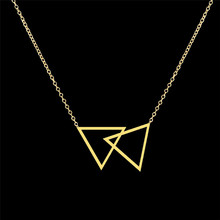 GORGEOUS TALE Stainless Steel Geometric Triangle Necklace Pendants Double Triangle Necklace for Women Vintage Accessories(China)