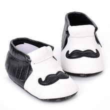 New tassel baby shoes black and white beard kids boys girls dress shoes lovely pu kids first walkers