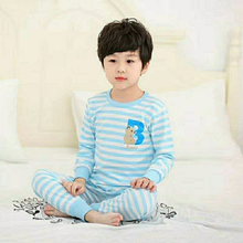 autumn winter new o neck cartoon boys long johns pure cotton baby thermal underwear sets long sleeve children pajamas set(China)