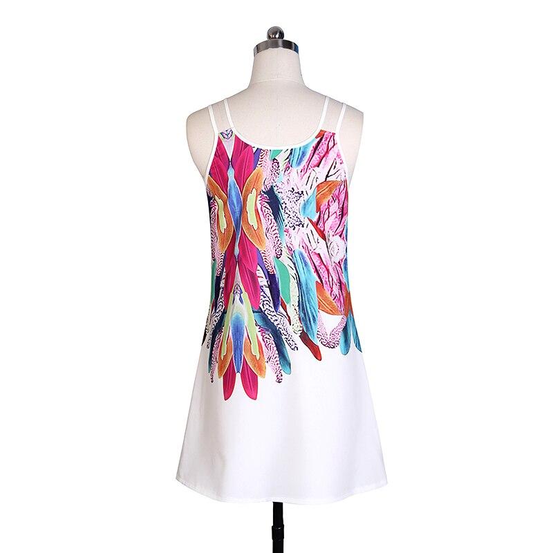 Women Bohemian Dress Feather Printed Beach Dress Causal Loose Spaghetti Strap Short Summer Dress S-5XL Plus Size Robe WS804O 10