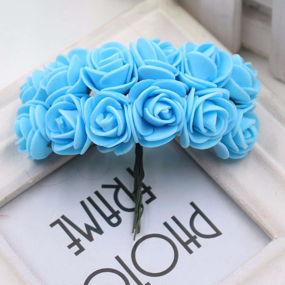 12pcs/lot New Hot 2cm Head Multicolor PE Foam Mini Flower Artificial Rose Flowers Bouquet wedding decorative flowers wreaths 17
