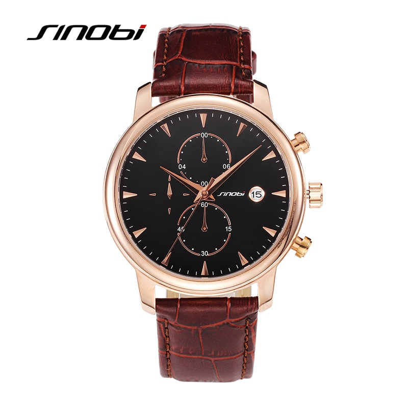 Original SINOBI Quartz-Watch Mens Watches Top Brand Luxury Wristwatches Waterproof Classic Leather Strap Watches Men Hours Clock<br><br>Aliexpress